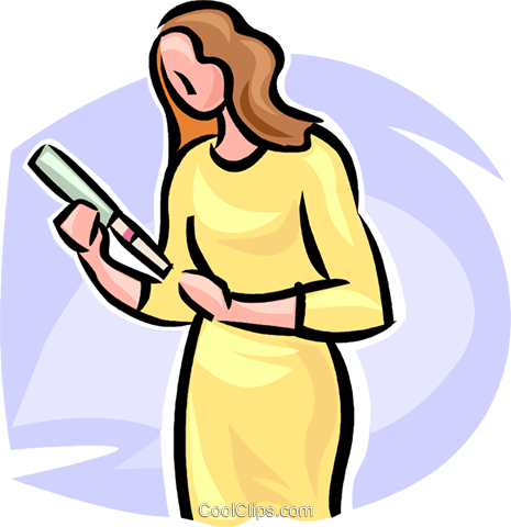 465x480 Woman With A Home Pregnancy Test Royalty Free Vector Clip Art