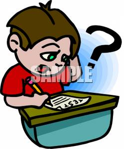 249x300 Free Clipart Image A Confused Boy Taking A Test In School