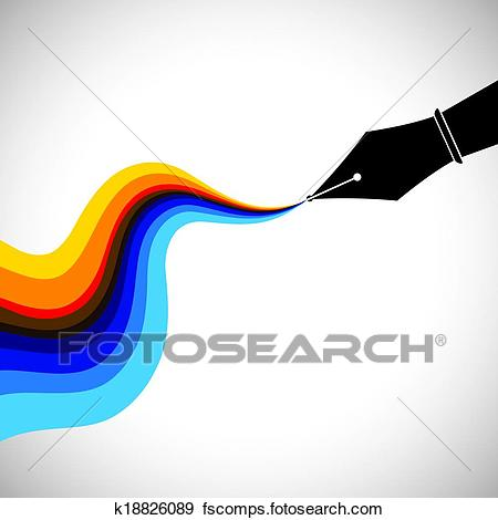 450x470 Clip Art Of Fountain Pen Nib And Flowing Colorful Ink