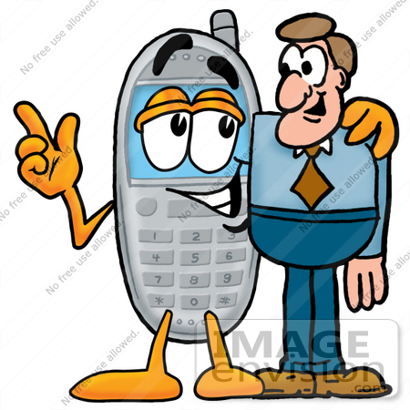 450x450 Clip Art Graphic Of A Gray Cell Phone Cartoon Character Talking