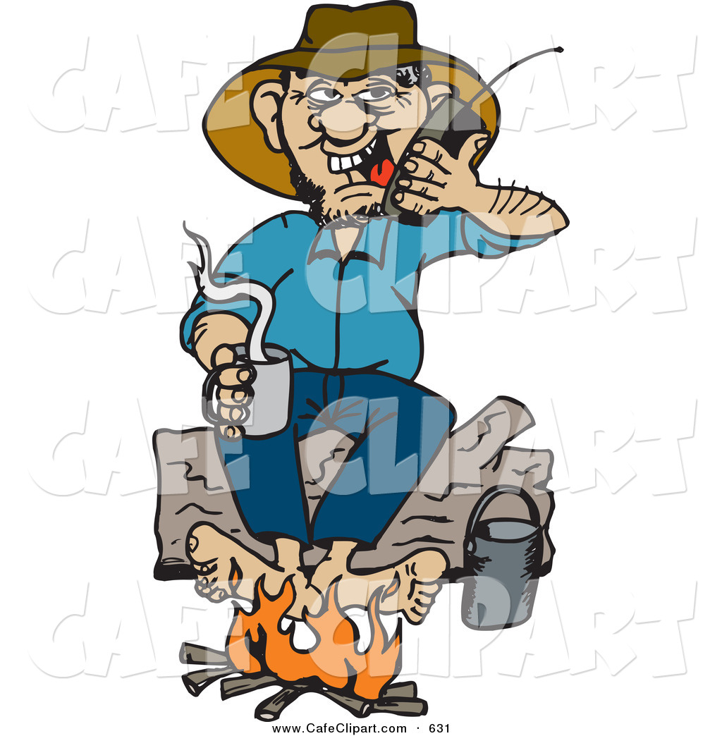 1024x1044 Vector Clip Art Of A Happy Man Sitting On A Log And Warming His
