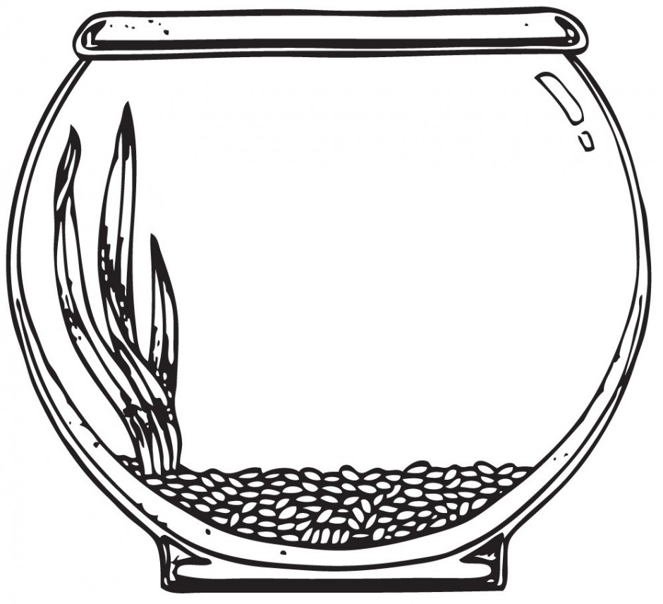 940x856 Fish Tank Clipart Black And White