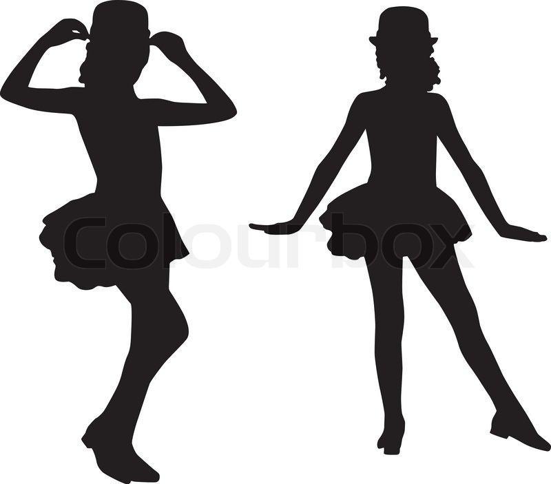 800x703 Dancing Silhouettes Children Stock Vector Colourbox