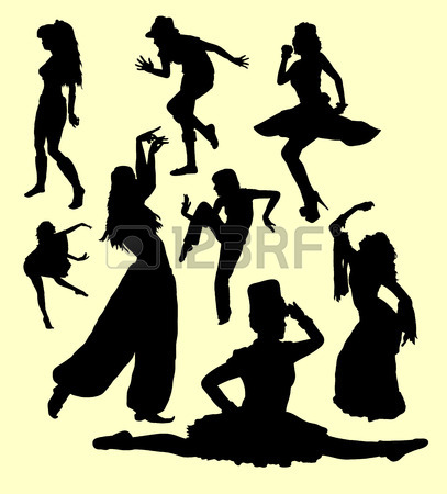 407x450 Tap Dance Man And Women Silhouette. Good Use For Symbol, Logo