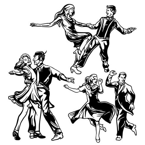 490x490 Tap Dance Silhouettes Vector