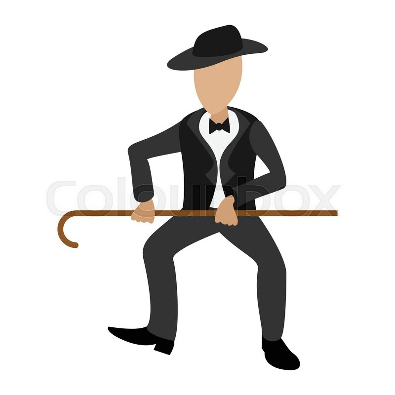 800x800 Tap Dancer Cartoon Illustration. Male Dancer With Hat And Stick