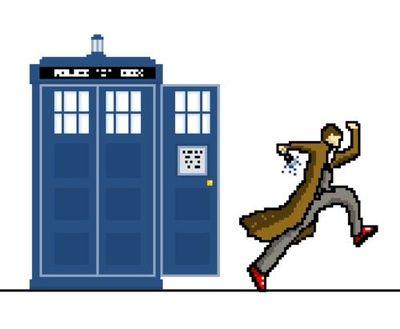 400x329 Pixel Art Dr Who (Tardis + Tenth Doctor) Geeking
