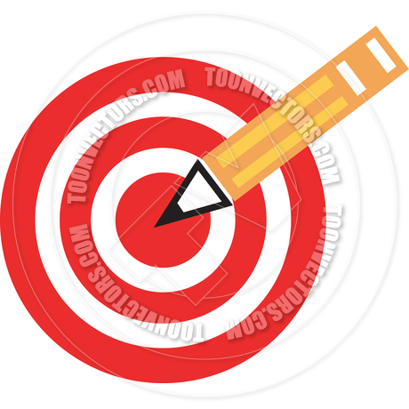 460x460 Cartoon Target With Pencil Vector Illustration By Clip Art Guy