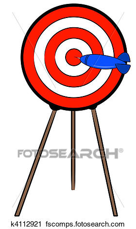 280x470 Clipart Of Dart Hitting Bullseye On Target On A Stand K4112921