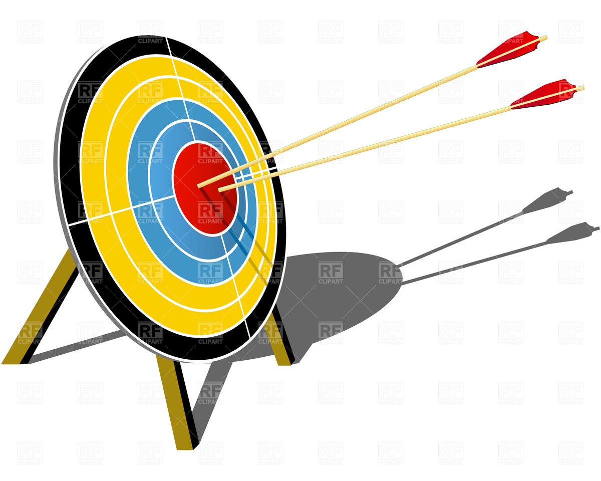 1200x960 Archery Target Hit With Arrow Royalty Free Vector Clip Art Image