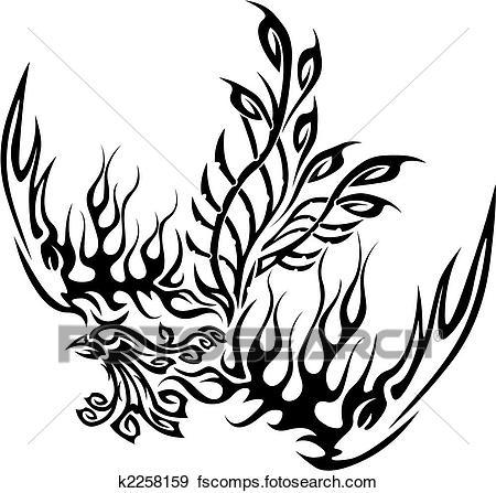 450x447 Clip Art Of Tattoo With Phoenix K2258159