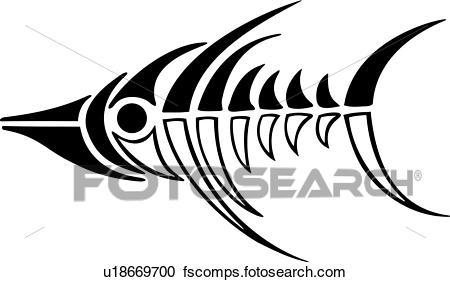 450x282 Clipart Of , Fish, Tattoo, Tribal, Vehicle Graphics, U18669700