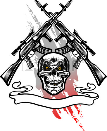 366x450 Guns And Grenade Bomb. Tattoo Combat Gas Mask Royalty Free
