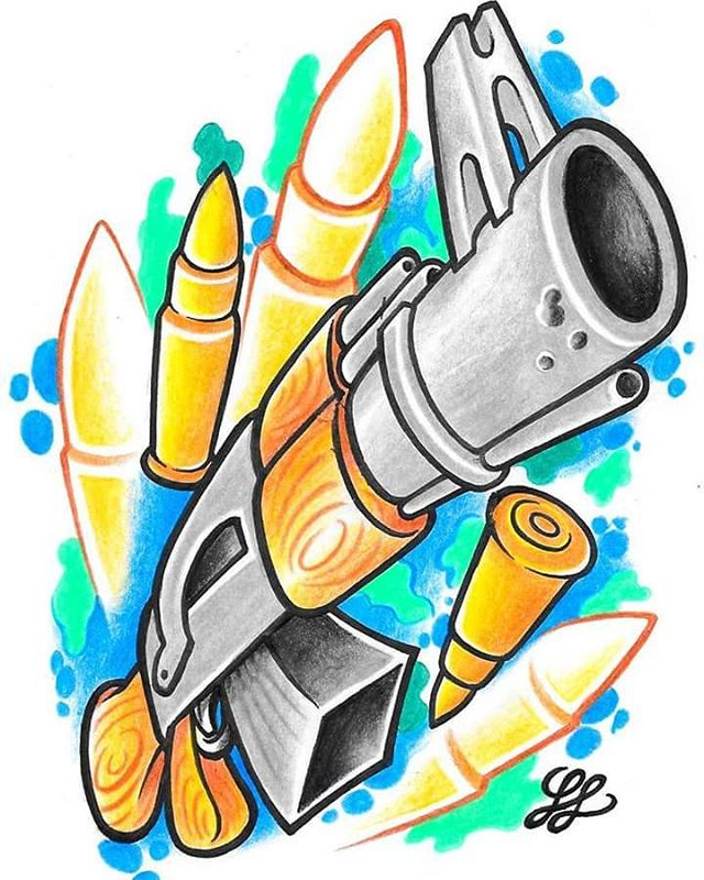 640x800 New School Ak 47 Machine Gun Tattoo Tattoo Gun