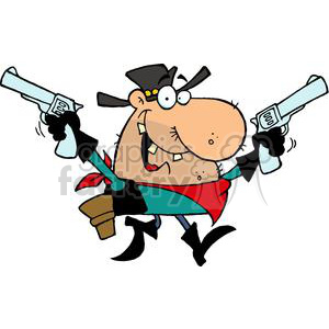 300x300 Royalty Free Outlaw Cowboy With A Gun In Each Hand 378912 Vector