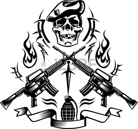 450x421 Skull, Crossed Guns Tattoo Combat Royalty Free Cliparts, Vectors