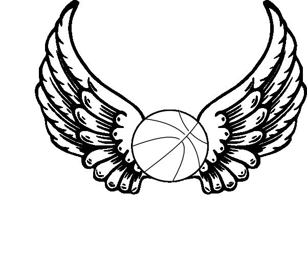600x545 Basketball Angel Wings Clip Art