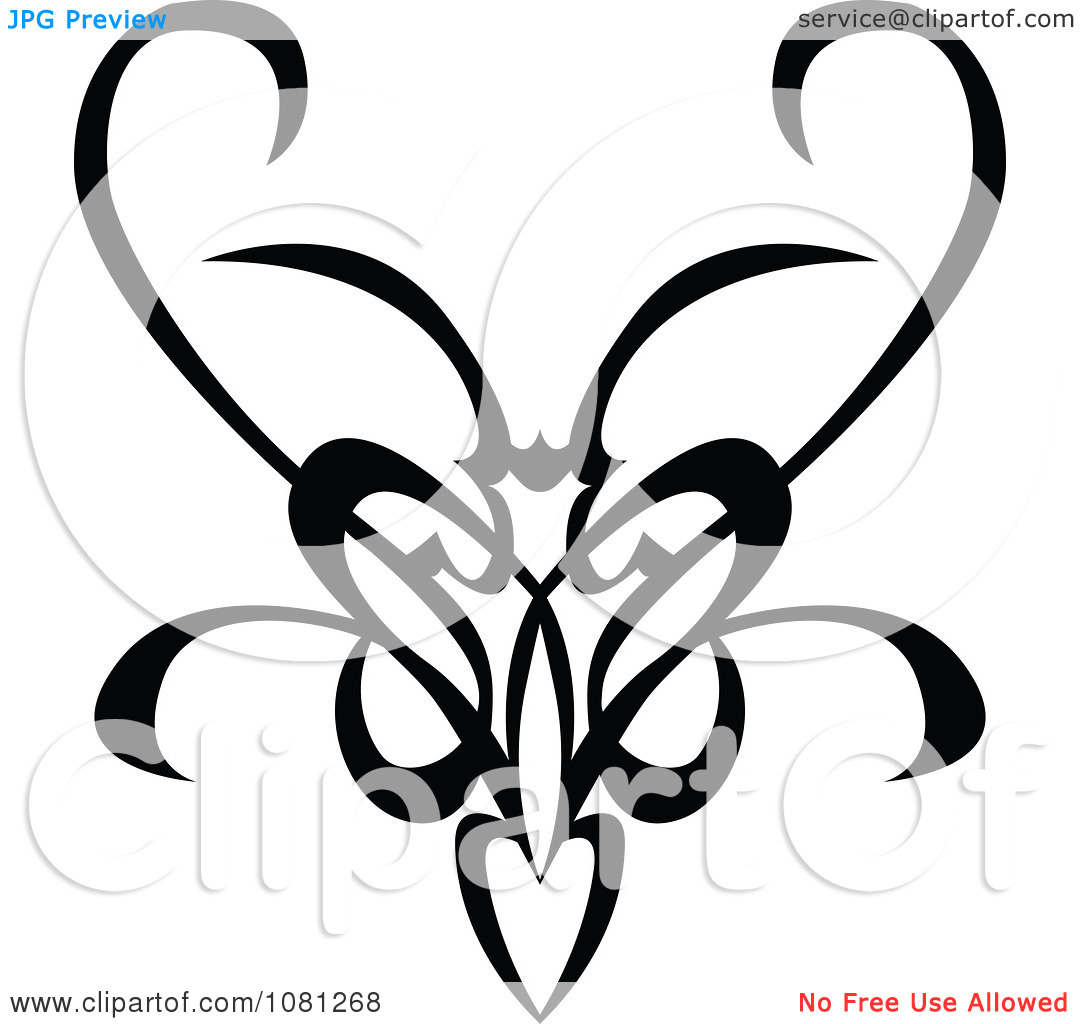 1080x1024 Clipart Black And White Tribal Swirl Butterfly Tattoo Design