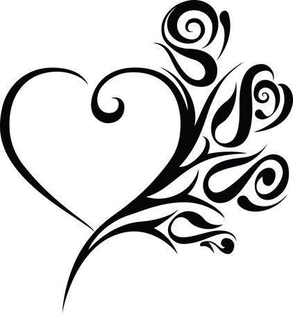 422x450 Free Clipart Of A Heart Wedding Frame With Black And White Tribal