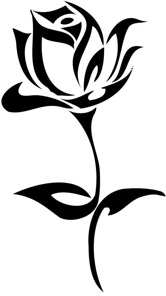 534x953 Tribal Rose Designs Upright Tattoo Rose