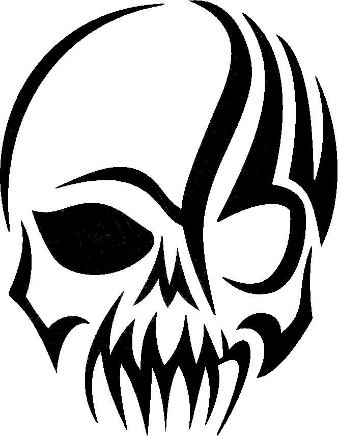 664x856 Tribal Skull 1 Woodcut Ideas Tattoo, Stenciling