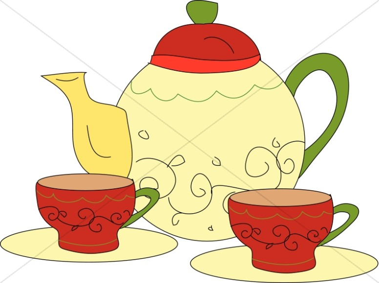 776x580 Tea Time With Pot And Cups Tea Time Clipart