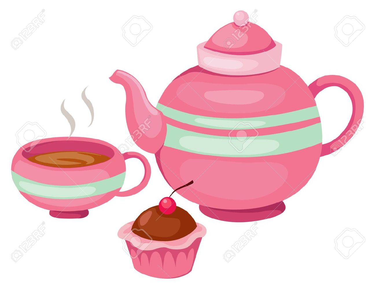 1300x988 Illustration Of Isolated Tea Pot Set Vector Royalty Free Cliparts
