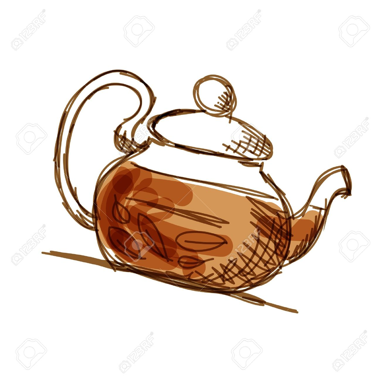 1300x1300 Teapot Sketch With Green Tea For Your Design Royalty Free Cliparts