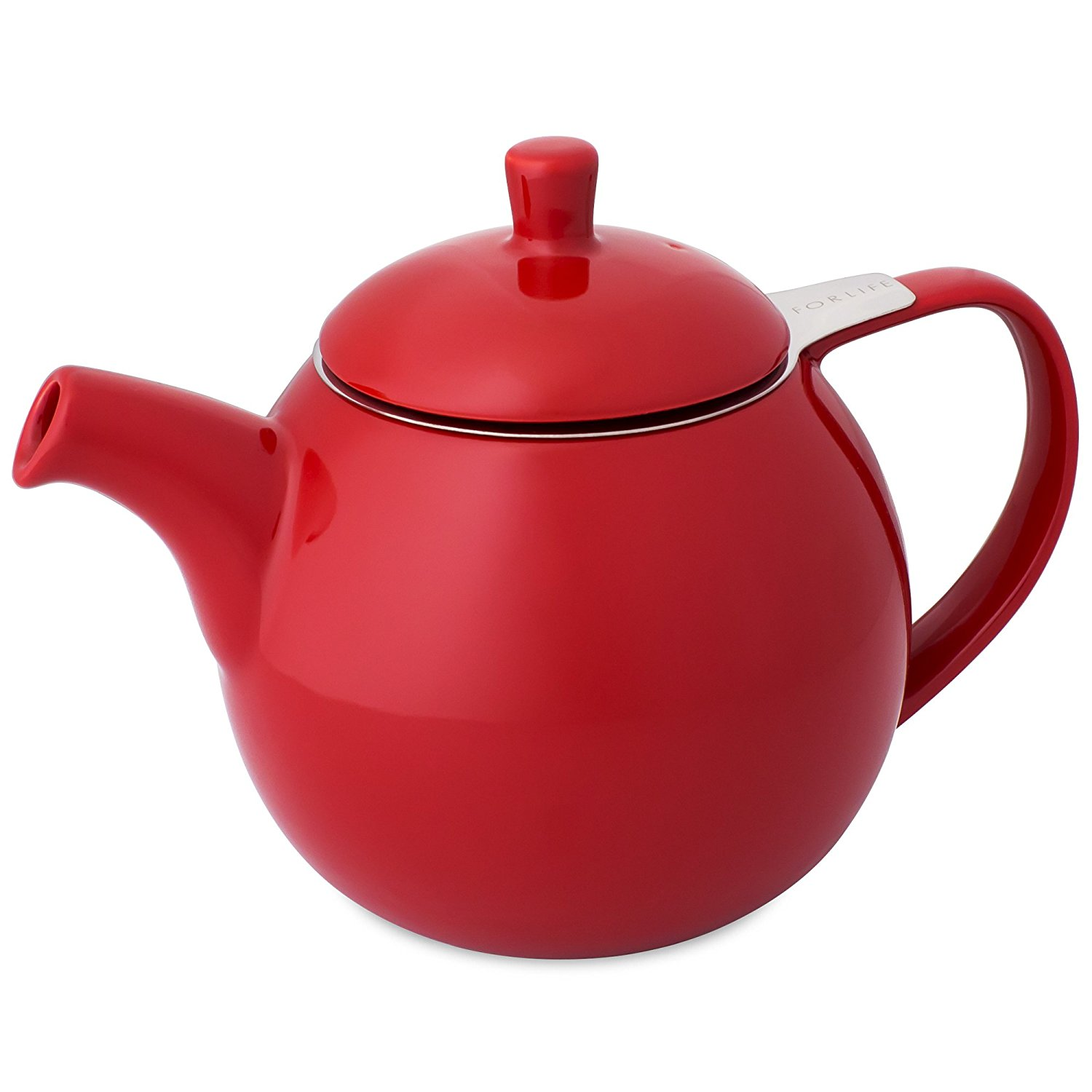 1500x1500 Forlife Curve Teapot With Infuser, 24 Ounce, Red