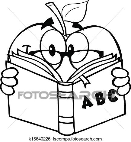 434x470 Clip Art Of Black And White Apple Teacher K15640226