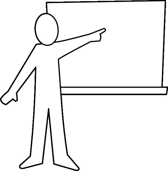 582x595 Teacher Teaching Black And White Clipart