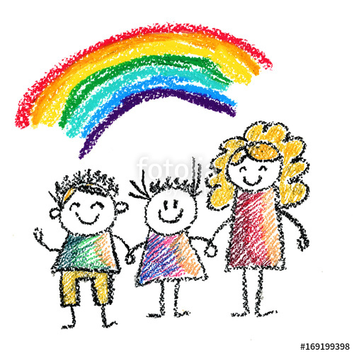 500x499 Children with teacher or mother Kids drawing illustration for