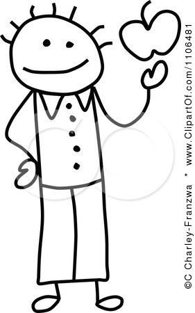 281x450 Clipart Black And White Stick Drawing Of A Happy Teacher Holding