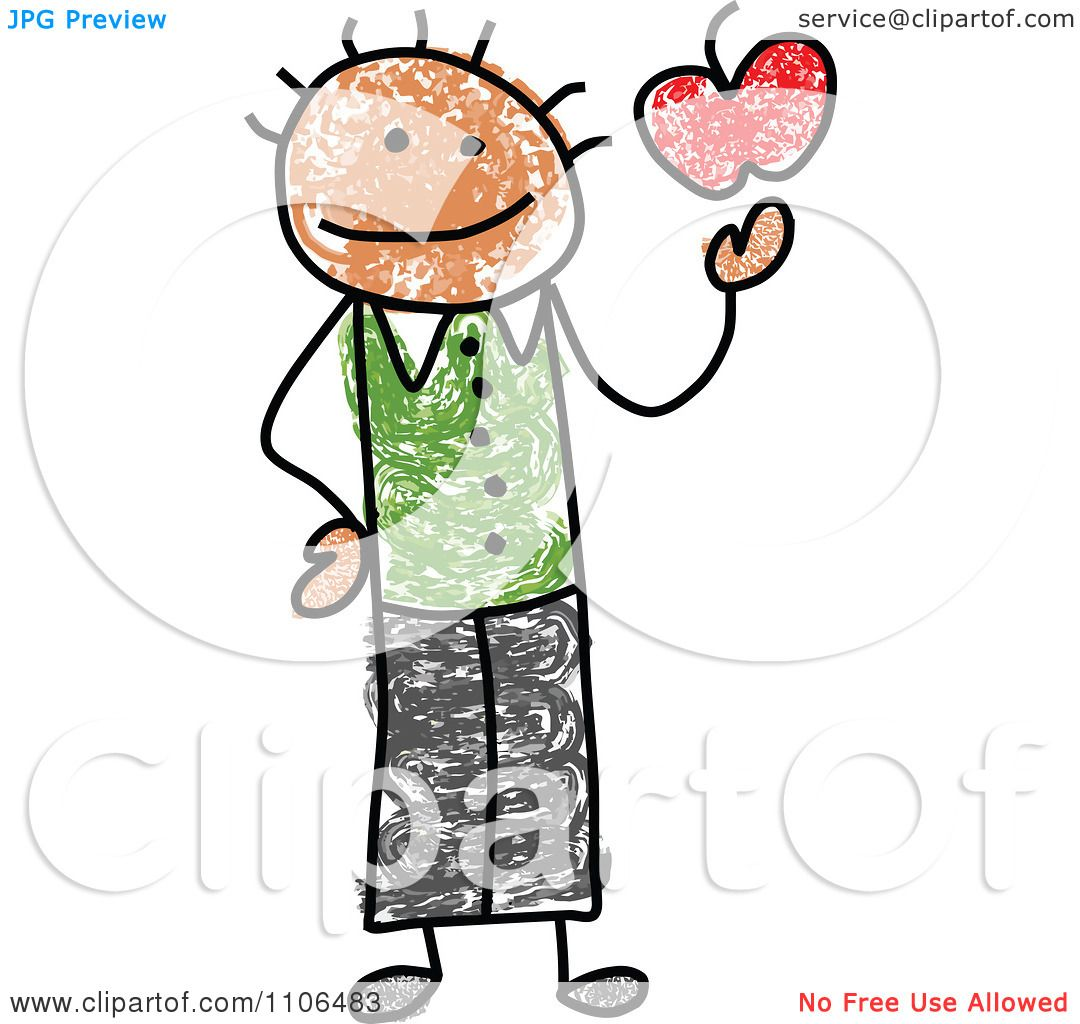 1080x1024 Clipart Stick Drawing Of A Happy Black Male Teacher Holding An
