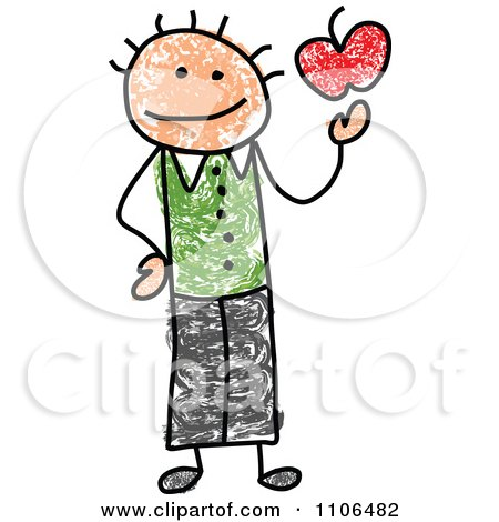 450x470 Clipart Stick Drawing Of A Happy Male Teacher Holding An Apple