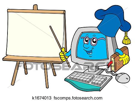 450x337 Drawing of Computer teacher with table k1674013