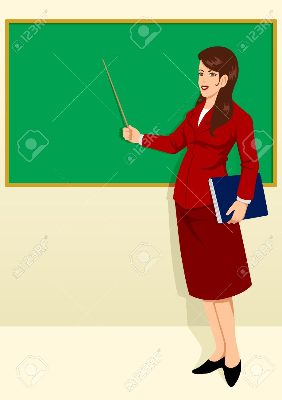 919x1300 A teacher in a classroom with a skirt on clipart