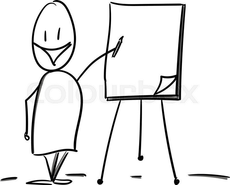 800x644 Teacher drawing on flipover Stock Vector Colourbox