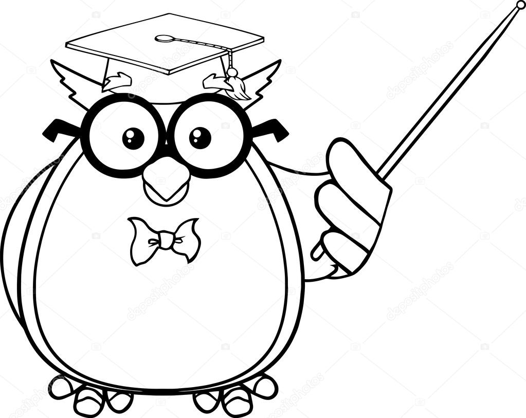 1023x813 Black And White Wise Owl Teacher Cartoon Character With A Pointer