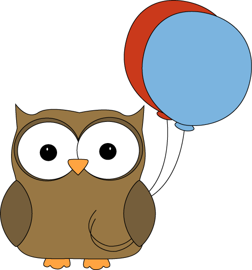 499x536 Brown Owl With Balloons Clip Art