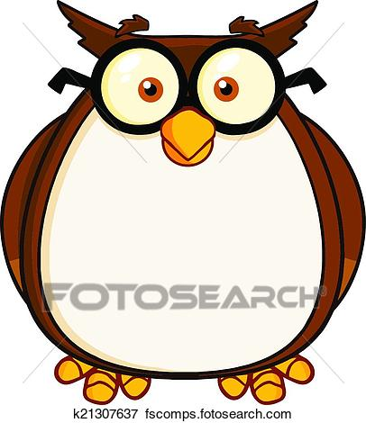 406x470 Clip Art Of Wise Owl Teacher Cartoon Character K21307637