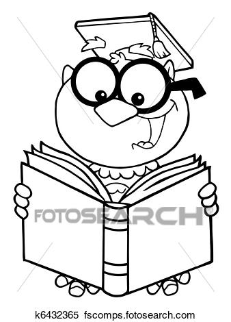 338x470 Clipart Of Outlined Owl Teacher Reading A Book K6432365