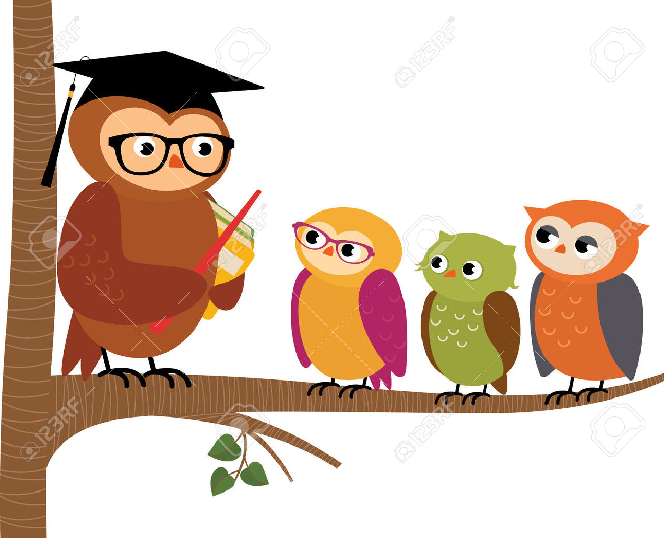 1300x1053 Stock Vector Cartoon Illustration Owl Teacher And His Students