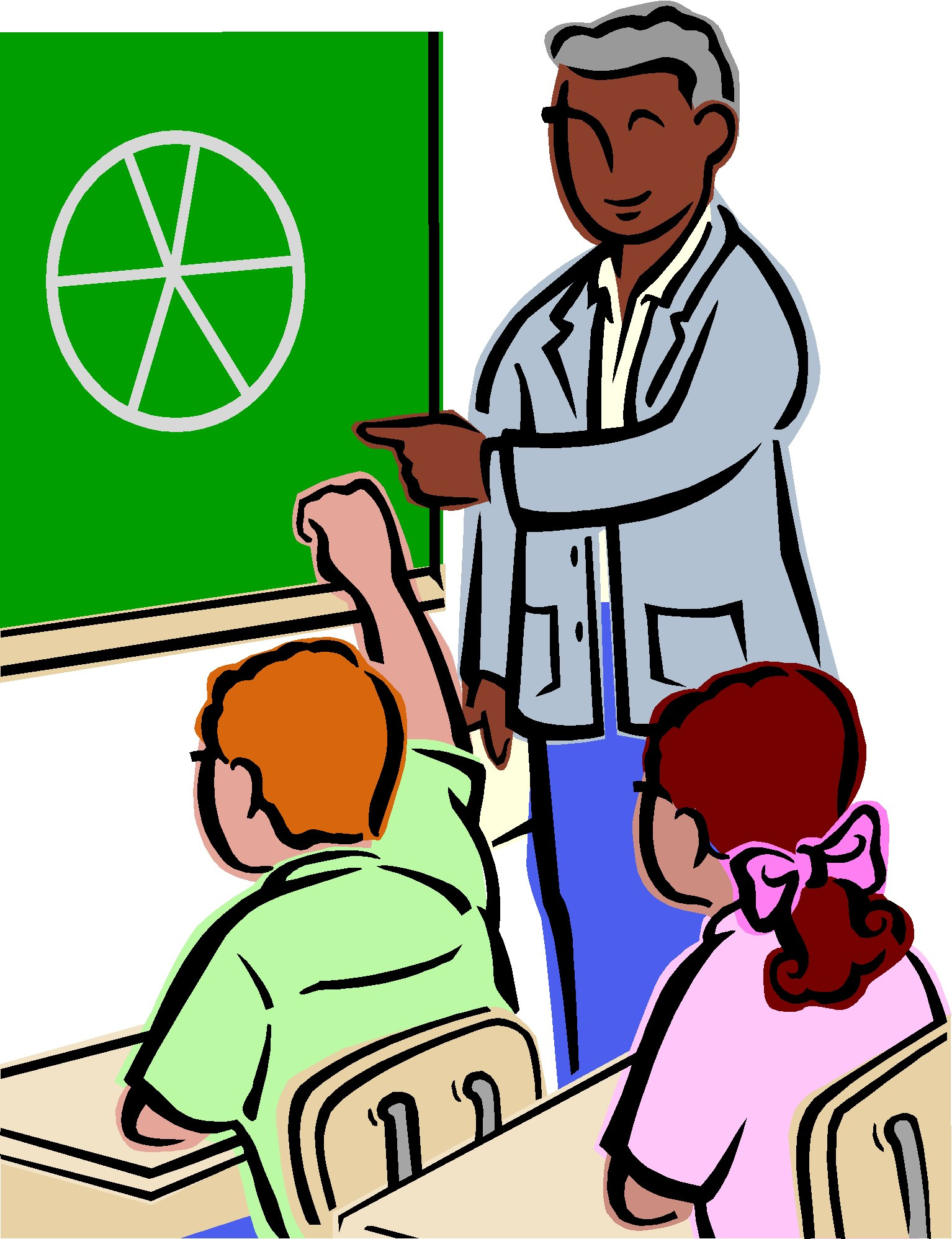 Classroom high school. Teacher reading to students