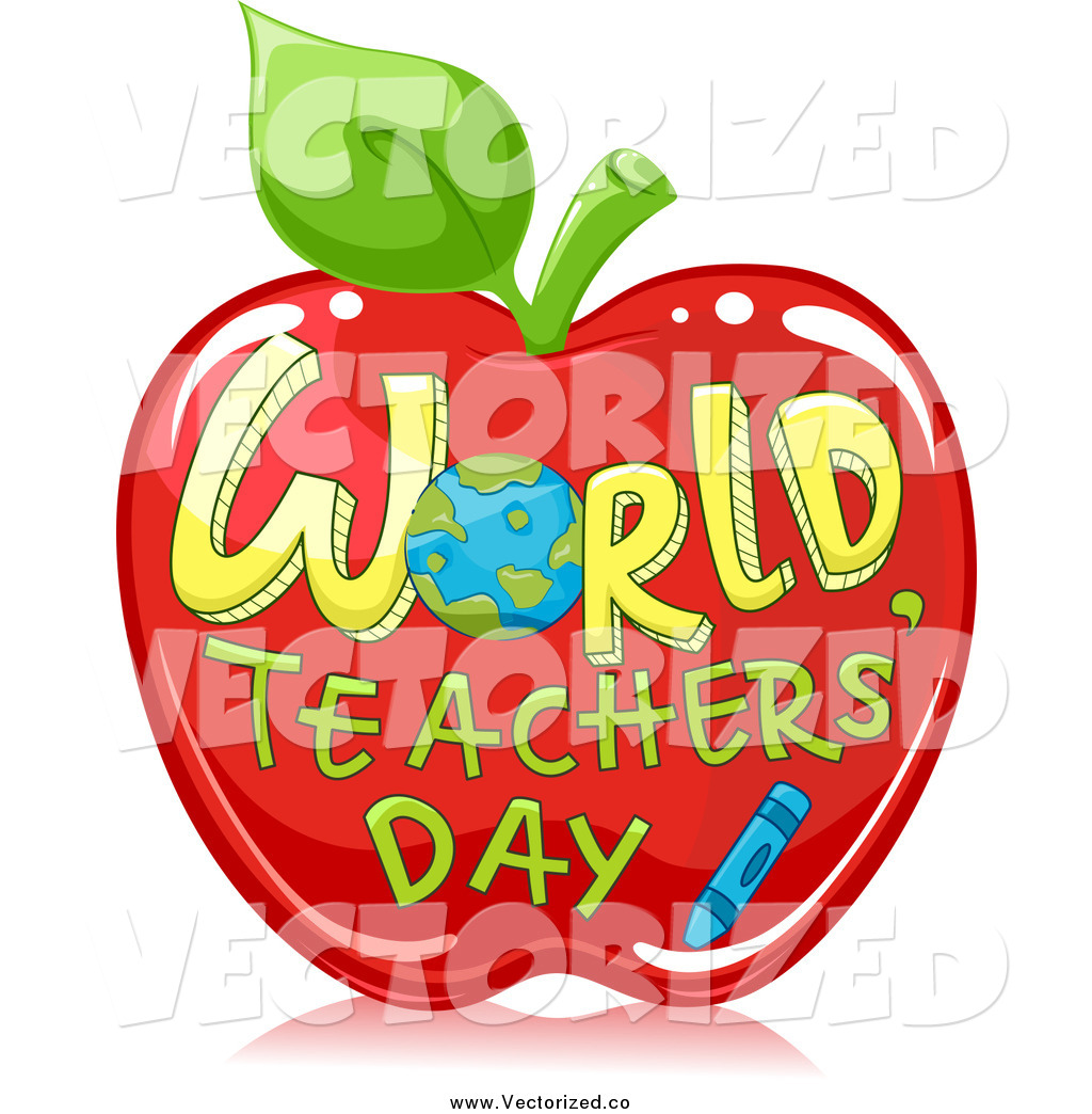 1024x1044 Royalty Free Clipart Of World Teachers Day On A Red Apple By Bnp