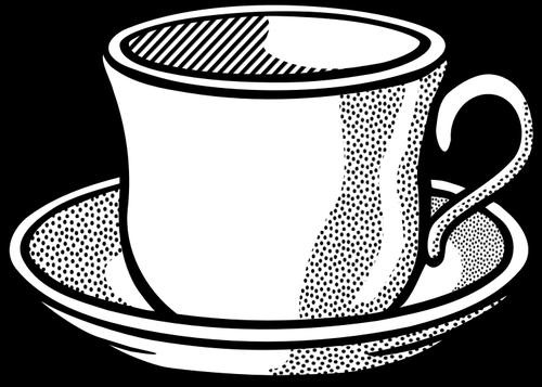 500x357 Vector Drawing Of Wavy Tea Cup On Saucer Public Domain Vectors