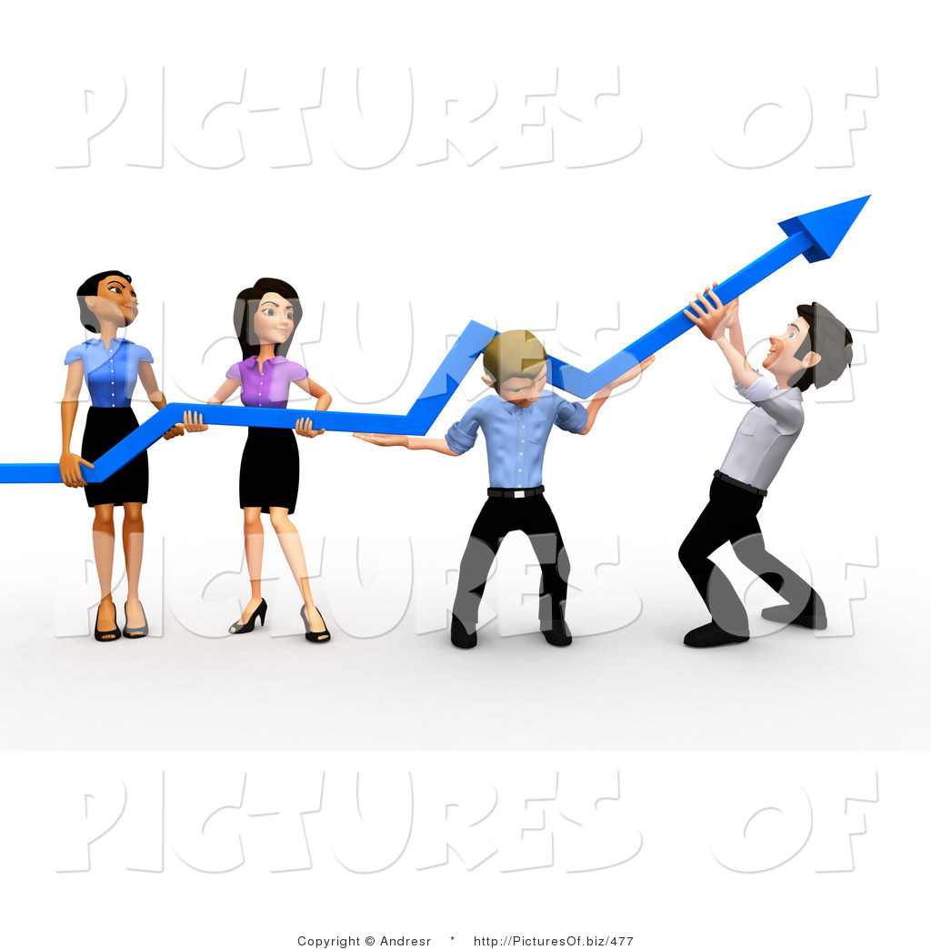 1024x1044 Clipart Of A 3d Diverse Business Team Holding An Arrow Up By