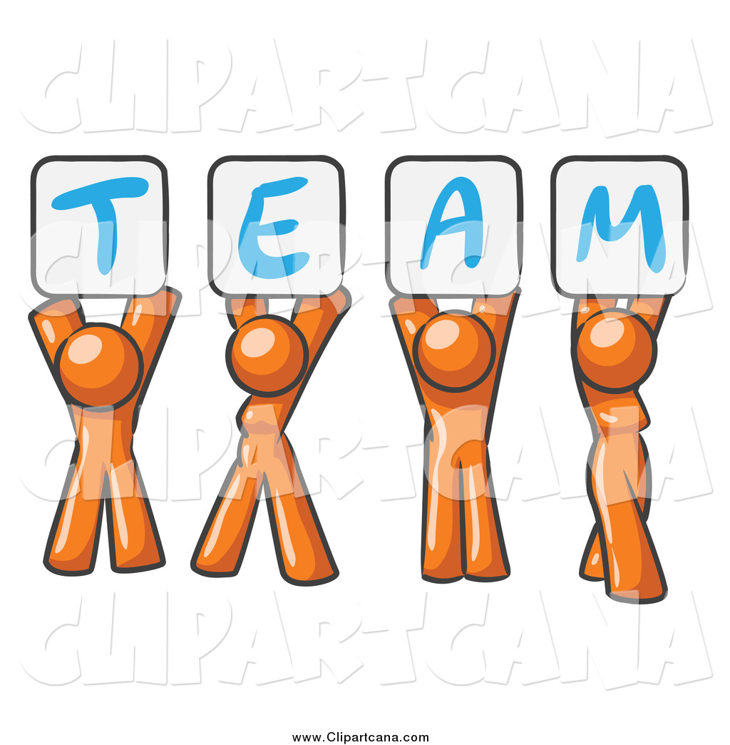 1024x1044 Clip Art Of Orange People Holding Up Team Signs By Leo Blanchette