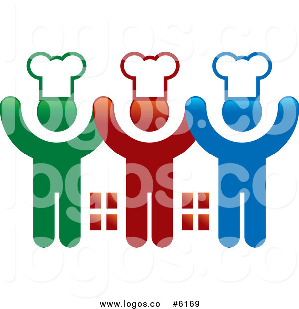 600x620 Royalty Free Clip Art Vector Logo Of Three Cheering Chefs Holding