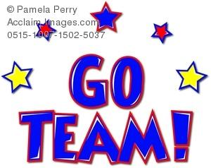 300x238 Clip Art Image Of A Go Team! Graphic